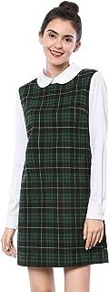 Women's Contrast Peter Pan Collar Long Sleeve Shift Plaid Dress