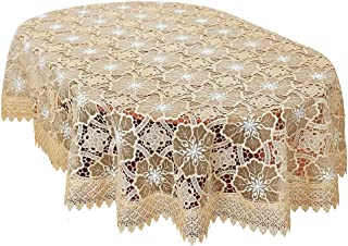 Simhomsen Beige Embroidered Lace Tablecloth for Dining Table 60 × 102 Inch Oval