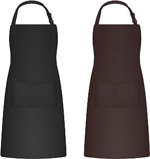 sinzau Fartuch 2 sztuki, fartuch kuchenny i fartuch do grilla, wodoszczelny, regulowany fartuch z 2 kieszeniami, czarny i ...