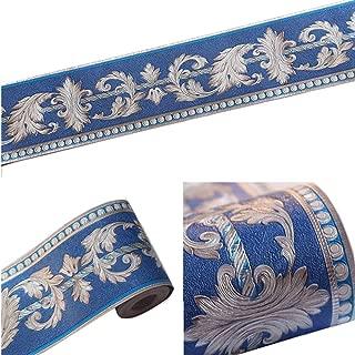 Mullsan 5Meters Dark Blue Feather Flower Petals Wallpaper Border Peel & Stick Wall Covering Kitchen Bathroom Bedroom Tiles Decor Sticker