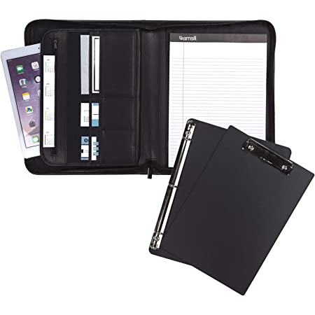 """Samsill 70829 Professional Padfolio Bundle, Includes Removable Clipboard, .5"""" Round Ring Binder with Secure Zippered Closure, 10.1 Inch Tablet Sleeve, Black"""