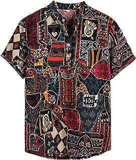 NEWISTAR Camisa de lino Henley para hombre, manga corta, cuello de banda, hawaiana, informal, vintage, étnico, para el verano
