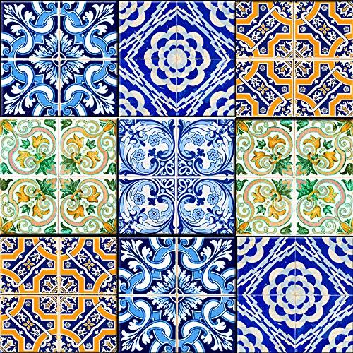 Mi Alma Backsplash - Azulejos decorativos para baño, 24 piezas, pegatinas de azulejos Talavera para pegar y pegar de fácil aplicación, ideal para baño, cocina, azulejos de pared, 4 x 4 (retro)