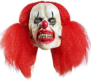 Deluxe Horrible Scary Clown Mask Adult Men Latex White Hair Halloween Clown Evil Demon Clown Mask Big Mouth Red Hair Mask