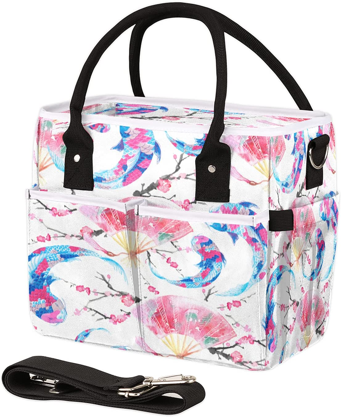 67% OFF of fixed price Choice Insulated Lunch Bag for Women Japanese Men Carp Leakproof Flower