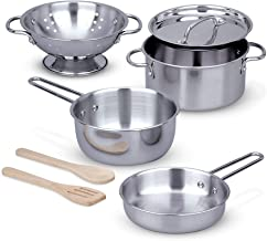 Melissa & Doug Let's Play House! Stainless Steel Pots & Pans Play Set - The Original Kids Toy, 8 Pieces, Great Gift for Girls and Boys – Best for 3, 4, 5, 6, 7 and 8 Year Olds)
