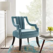 Modway Harken Channel Tufted Performance Velvet Accent Living Room Armchair in Light Blue