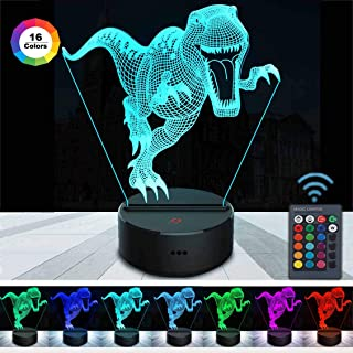 Tuanchang 3D Night Light Dinosaur for Kids, 3D Illusion Lamp Dimmable Brightness Night Lamp with Remote Control & Smart Touch 16 Colors Changing Dinosaur Gifts for Boys Girls Christmas Birthday Party
