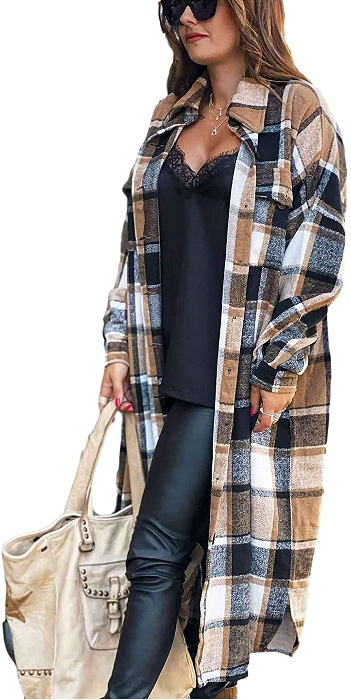 Omoone Women's Lounge Lapel Button Up Long Sleeve Plaid Long Shirt Jacket Shacket