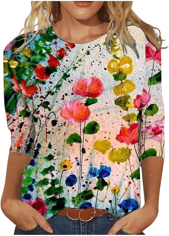 Autumn t-Shirts Tops Women's Print Long Sleeve Tops Loose Blouse Casual O-Neck Tee Shirts Tunic