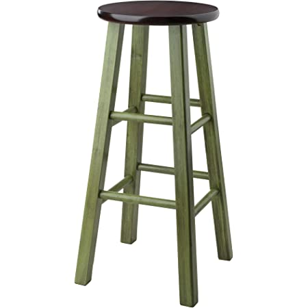 Winsome Wood Ivy Model Name Stool, Rustic Green/Walnut