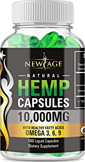 Hemp Capsules - 10,000 MG of Pure Hemp Extract Per Bottle - Pain, Stress & Anxiety Relief - Natural Sleep & Mood Support - Made in The USA - Maximum Value - Rich in Omega 3,6,& 9,