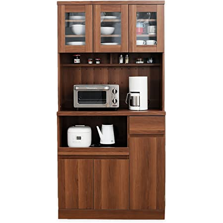 LOWYA ロウヤ キッチン収納 食器棚 レンジ台 3枚扉 A+Aタイプ ハイタイプ ウォルナット