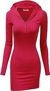 Womens Long Sleeve Henley Neck Basic Hoodie Dress