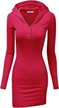 Doublju Womens Long Sleeve Henley Neck Basic Hoodie Dress
