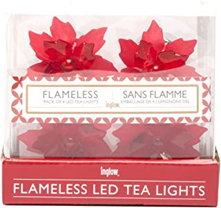 Sterno Home DS9737 Poinsettia Tea Light Place Card Holders (4-Pack)