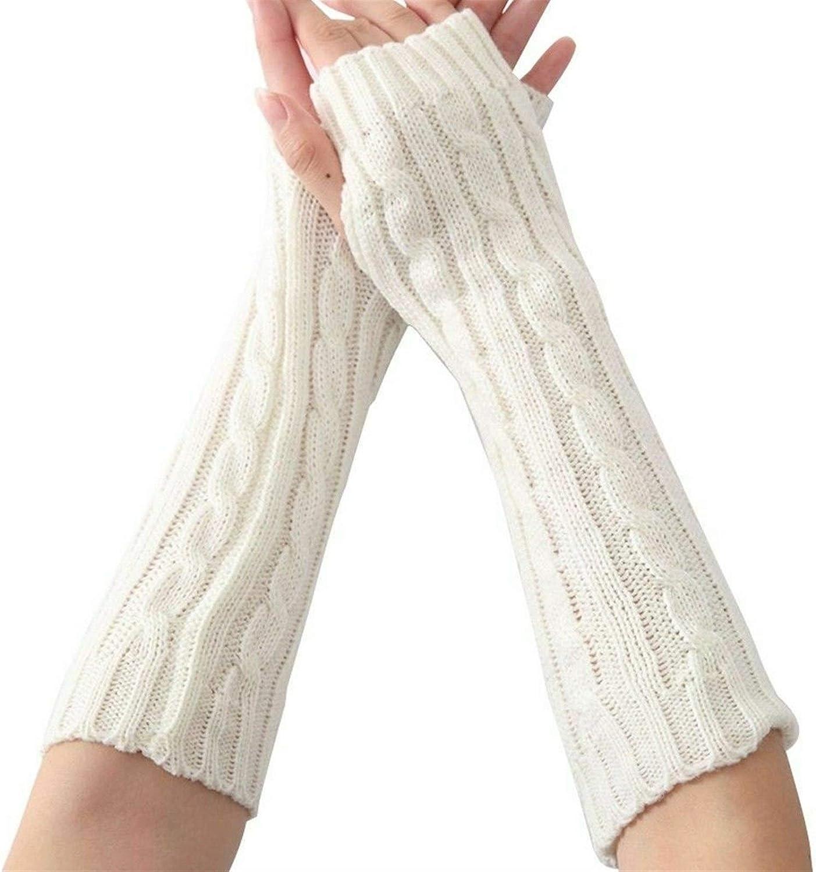 FASGION Women Ladies Winter Casual Knitted Wrist arm Warm Long Gloves Fingerless Gloves Black White Gray (Color : White)