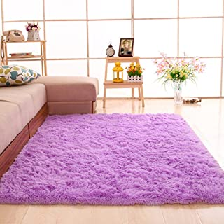 gdmgdr Ultra Soft and Fluffy Nursery Rugs 4cm High Pile Area Rugs for Bedroom and Living Room 4' x 5.3', Purple
