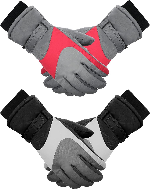 2 Pairs Kids Winter Warm Gloves Waterproof Ski Gloves Polyester Elastic Non-slip Five Finger Gloves for Boy Girl Skiing