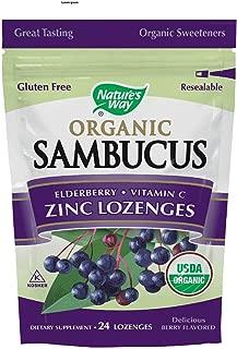 Nature's Way Sambucus Zinc Lozenges with Elderberry Organic 24 Lozenges ( 2 pack )