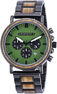 BOBO BIRD Fashion Stainless Steel Combined Chronograph Mens Wooden Watches Analog Quartz Casual Wood Wrist Watch for Men F...