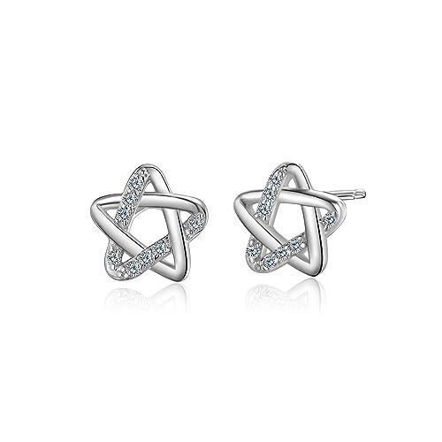 006ee8b82 WHCREAT Star-shaped 925 Sterling Silver Earrings Studs for Women Girls, 5A  Cubic Zirconia