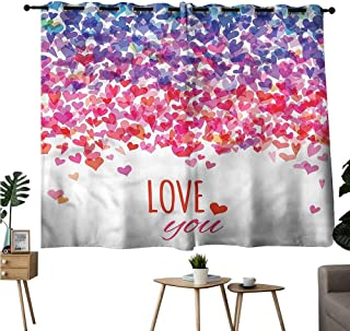Alexandear Bedroom Darkening Curtains Grommets Curtain for Living Room Love,Hearts Love Springtime Set of 2 Panels W108 x L72
