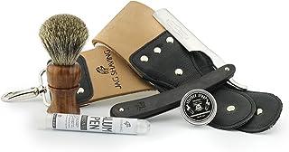 Jag Shaving Scheerset - 5 stuks scheerset - houten dassenscheerkwast - rechte scheermesset - lederen strop - honing compou...