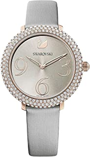 SWAROVSKI Crystal Authentic Crystal Frost Watch, Leather Strap, Gray, Rose Gold Tone - High Class Stone Studded Swiss Made Timepiece Jewelry and Everyday Accessory for Women