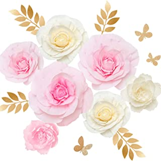 Ling's moment Paper Flowers Decorations, Set of 7, Handcrafted Large Crepe Paper Rose Peony for Wall Baby Nursery Wedding Backdrop Bridal Shower Centerpiece Monogram Sign(Pink+White)