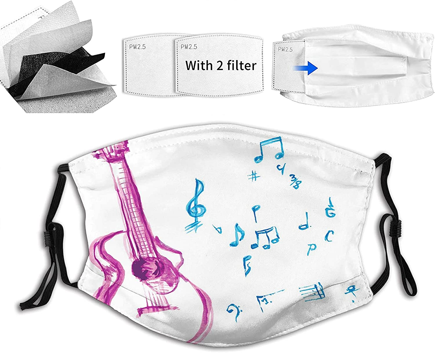 Comfortable Printed mask New products world's highest quality popular Watercolor with Note OFFicial site Musical Instrument