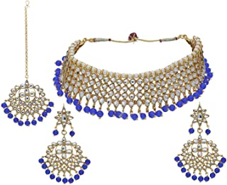 Aheli Indian Beaded Necklace Dangle Earrings Maang Tikka Indian Bollywood Style Fashion Ethnic Jewelry Set for Women