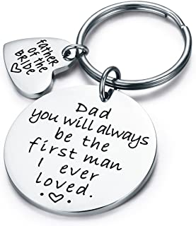CJ&M Wedding Gift Keyring - Father of the Bride Keyring - Dad You Will Always Be the First Man I Ever Loved - Father of the Bride Gift