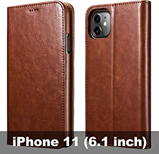 iPhone 11 Wallet Case, ICARERCASE Folio Flip MagneticPu Leather Cover with Kickstand and Credit Slots for iPhone 11 6.1 inch 2019(Brown)