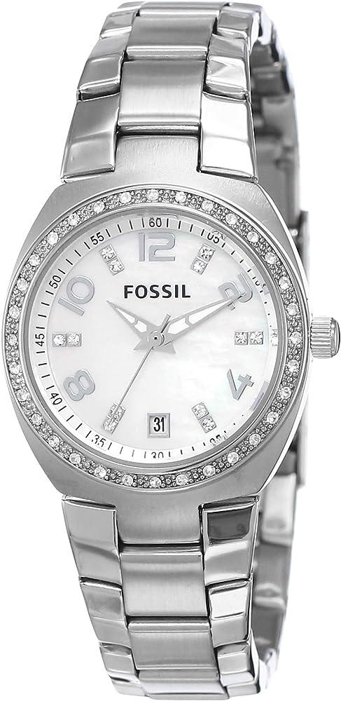 Fossil, orologio per donna,in acciaio inossidabile,ghiera con cristalli AM4141