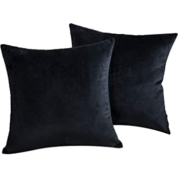 JUEYINGBAILI Throw Pillow Covers Velvet Decorative 2 Packs Ultra-Soft Black Pillowcase 18 x 18 Inch for Couch,Chair,Sofa,Bedroom,Car,SquareSolid Color