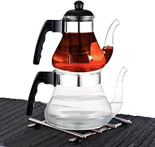 2.4 Litre Ateşe Dayanıklı Cam Çaydanlık Süzgeçli Borosilikat Cam