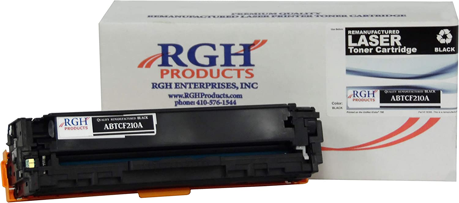 RGH Products Remanufactured Toner Cartridge ABTCF210A Tray Toner Cartridge Replacement for HP CF210A Printer Black