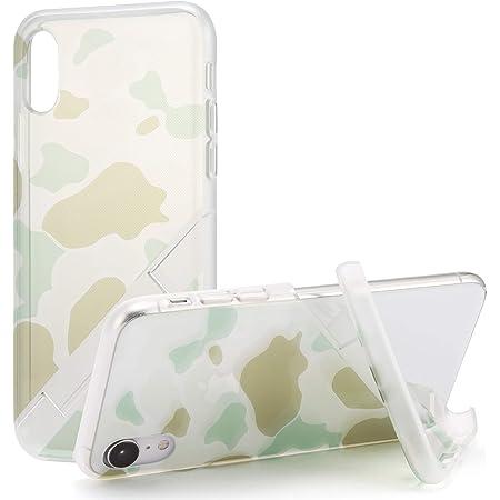 カンピーノ campino スマホケース iPhone XR ケース カモフラージュ OLE stand スタンド機能 耐衝撃 スリム 薄型 動画 Qi ワイヤレス充電対応 クリア グリーン 透明 緑
