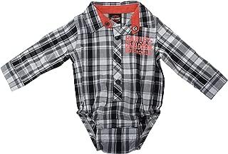 Harley-Davidson Boys Baby B&S Logo Woven Plaid Long Sleeve Creeper