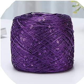 100g/Pc Colorful Crochet Thin Thread Shiny Sequin Yarn for Hand Knitting Sweater Shawl Yarn Crochet Hook Thread,Dark Purple
