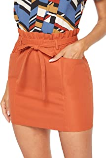 Women's Casual High Waist Frill Belted Double Pocket Bodycon Mini Short Skirt
