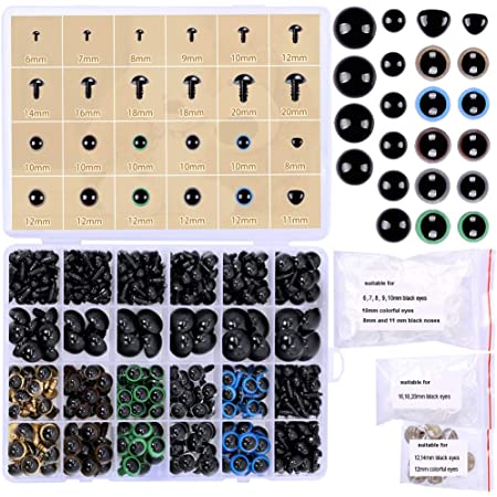 1 Box 500pcs DIY 4-12mm Plastic Safety Eyes with Activity Moving Eyeball with