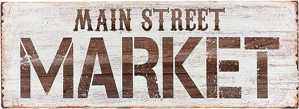 Barnyard Designs Main Street Market Tin Sign, Primitive Country Farmhouse Home Decor Sign 14