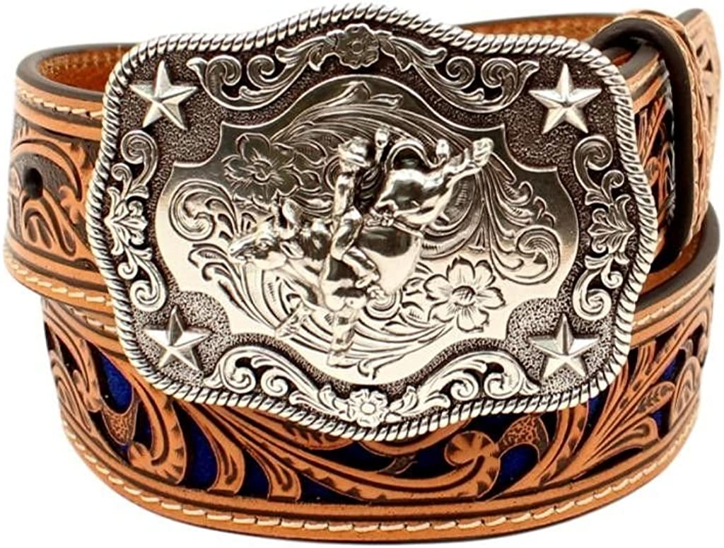 M+F Western Products Boys Boys Brown Belt With Blue Inlay Scroll