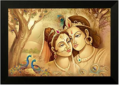 SAF Radha Krishna 6669 UV Textured Framed Art Print (35 x 50 x 2 cms) SANFMA6669
