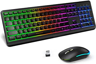 Wireless Keyboard and Mouse Combo Backlit , seenda Rechargeable Full-Size Illuminated Wireless Keyboard and Mouse Set, 2.4...