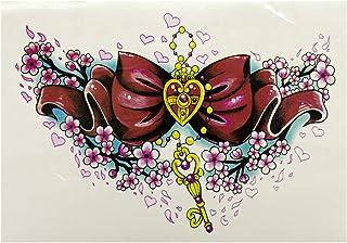 Hart strik sleutel bloemen tattoo - Fake Tijdelijke eens XL Lichaamskatoeage HB-520