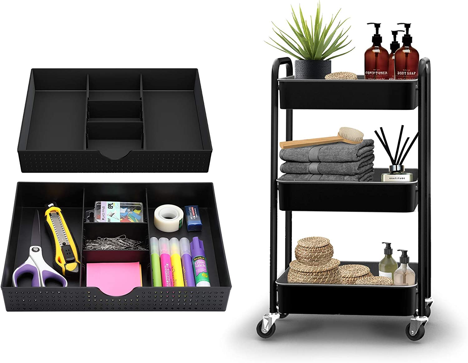 CAXXA 3 Tier Discount mail order Utility Cart - Black w Organizer PK + Desk 67% OFF of fixed price Drawer 2