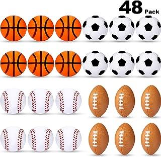 Mini Stress Balls, Sports Stress Balls, Including Soccer Ball, Basketball, Football, Baseball Squeeze Balls for Party Favor Toy (48 Pieces)